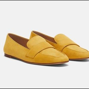 Zara yellow saddle loafer sz 9 flats faux suede